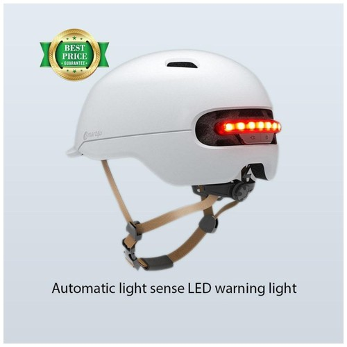 Xiaomi Youpin Smart4u Helm Sepeda City Light Riding Smart Flash Helmet Size L - White
