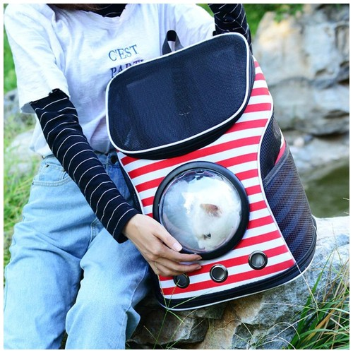 Breathable Canvas Capsule Backpack Travel Bag Pet Cat Carrier - Garis Red