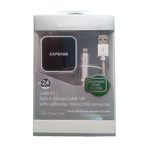 Capdase Dual USB Power Adapter and Cable Cube K2 Lightning Micro USB - TK00-AM2S