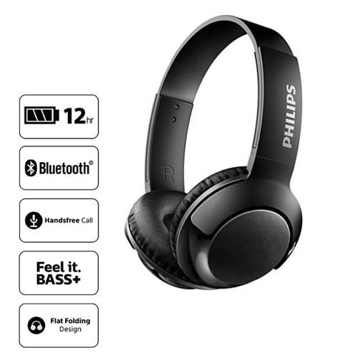 Philips BASS+ Wireless On Ear Headphone with Mic SHB3075BK - Black