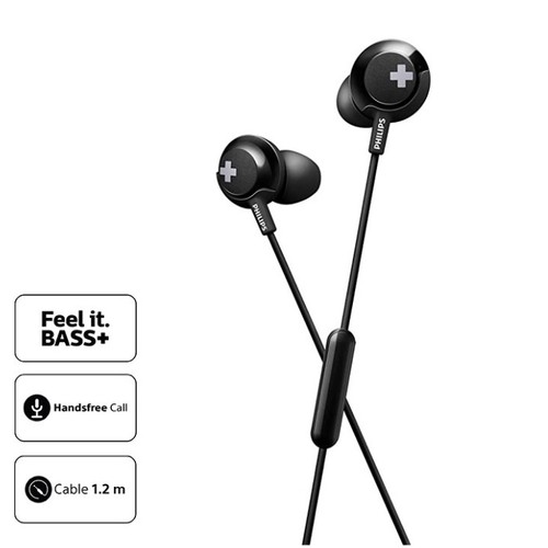 PhilipsEarphone Bass Plus with Mic SHE4305BK - Black