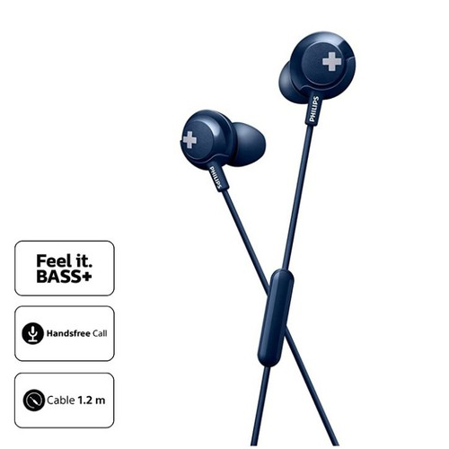 Philips Earphone Bass Plus with Mic SHE4305BL - Blue