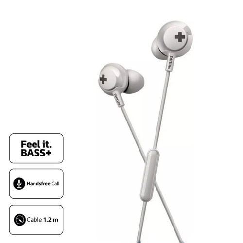 Philips Earphone Bass Plus with Mic SHE4305WT - White