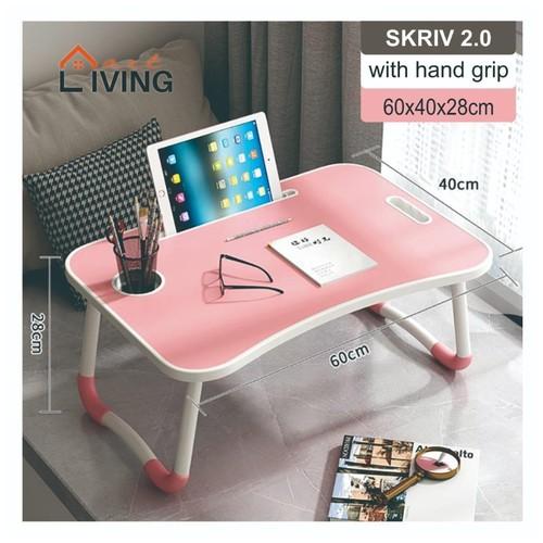 Living Mart - SKRIV 2.0 Meja Lipat Serbaguna Dengan Pegangan Tangan / Laptop Desk With Hand Grip - Pink