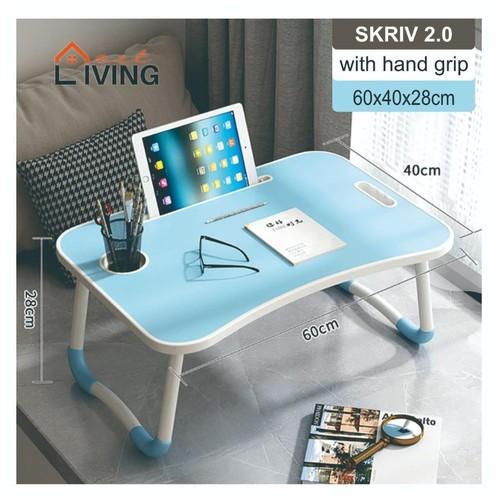 Living Mart - SKRIV 2.0 Meja Lipat Serbaguna Dengan Pegangan Tangan / Laptop Desk With Hand Grip - Biru Muda