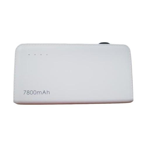 Slim Power Bank Leather Texture 7800mAh - White