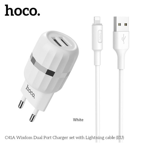 HOCO C41A Wisdom dual USB port charger set with cable for Lightning - White
