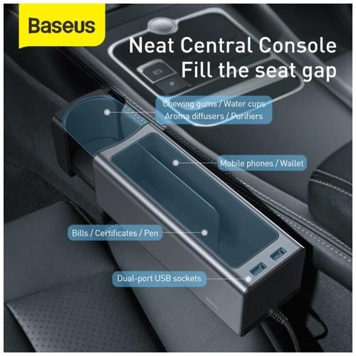 BASEUS A01 Car Armrest Console Organizer With Dual USB Power Supply