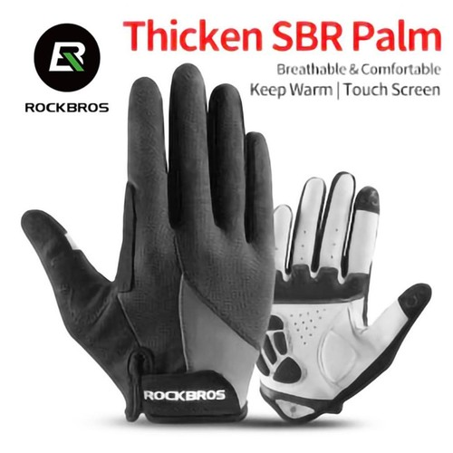 Rockbros Sarung Tangan Sepeda Full Finger Touchscreen Windproof Size XL - S030-2 - Black