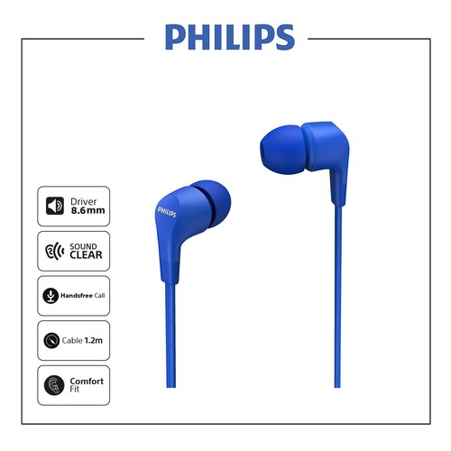Philips In-ear wired headphones TAE1105BL - Blue