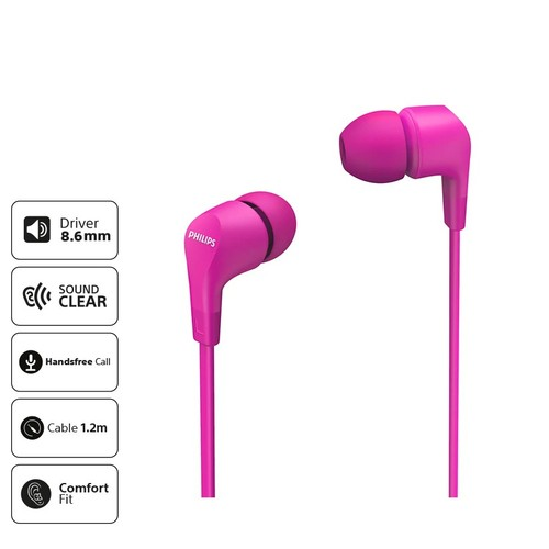 Philips In-ear wired headphones TAE1105PK - Pink