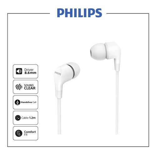 Philips In-ear wired headphones TAE1105WT - White