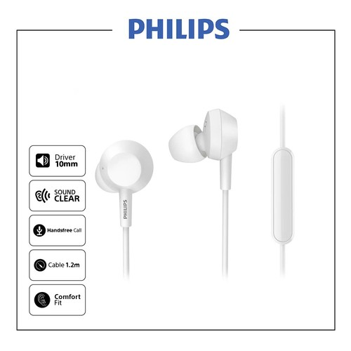 Philips In-ear headphones Bass with mic TAE4105WT - White