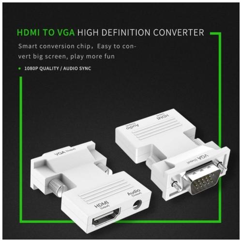 Mediatech Adaptor Hdmi to Vga - Hdmi Female to Vga Male / HDMI to VGA Converter With Audio - Putih