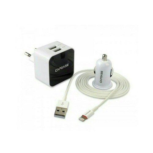 Capdase Adaptor Charger + Car Charger + Kabel Apple iPhone - TKCB-B202