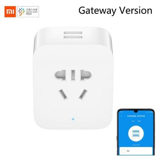 Xiaomi Mijia Smart Socket Stop Kontak Bluetooth Gateway Version with Dual USB Port - ZNCZ06CM - White