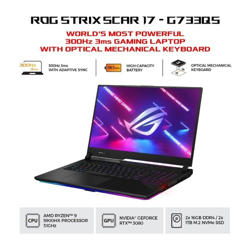 ASUS ROG Strix Scar 17 G733QS-R938D6T-O - Black