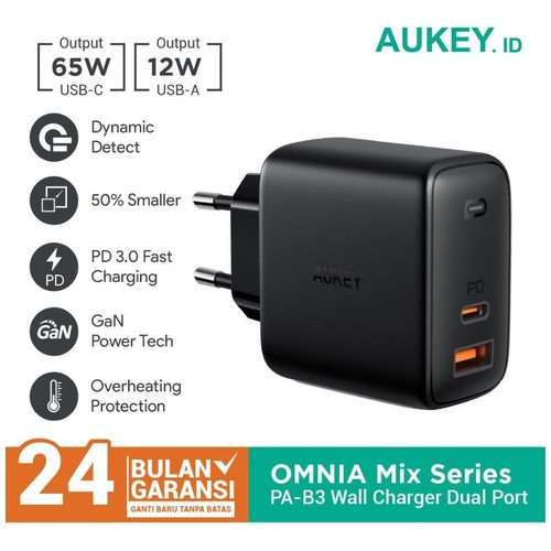 Aukey Charger PA-B3 Wall Charger OMNIA Mix 65W 2 Port PD Charger - 500484