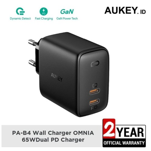 AUKEY PA-B4 - OMNIA DUO 65W - Dual Port PD Charger with GaNFast Tech