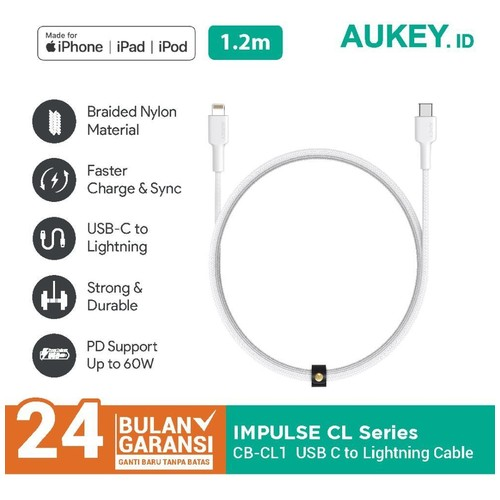 Aukey  Kabel Charger Iphone CB-CL1 Mfi USB C to Lightning 1.2m White