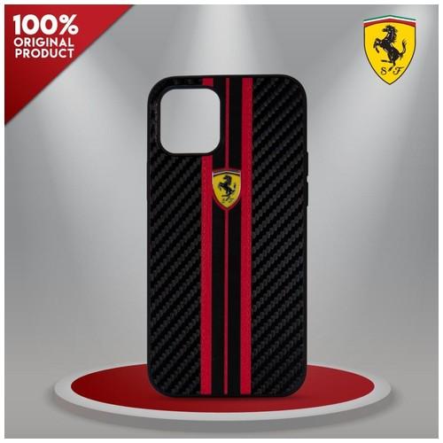 Case iPhone 12 Pro Max Ferrari On Track Carbon PU B.Red