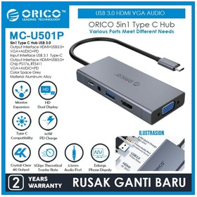 ORICO 5in1 Type C Hub USB 3