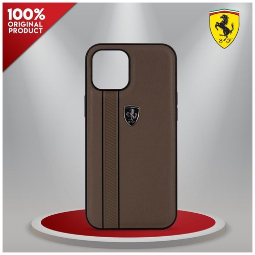 Case IPhone 12 Pro Max Ferrari Off Track Stripes Brown