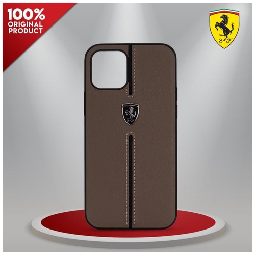 Case iPhone 12 Pro Max Ferrari Off Track Leather Nylon Brown