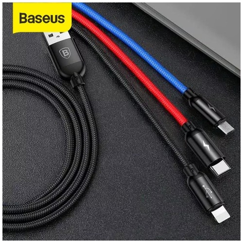 BASEUS Kabel Data 3in1 Micro+Lightning+Type C 1.2M Primary Colors 3.5A
