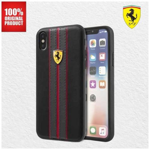 Casing iPhone X / XS On Track PU Leather Case Ferrari - Black