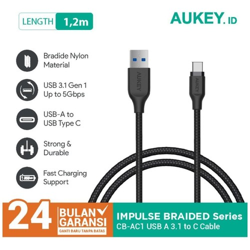AUKEY CB-AC1 Kabel Data Type C Braided Fast Charging 3A USB 3.1