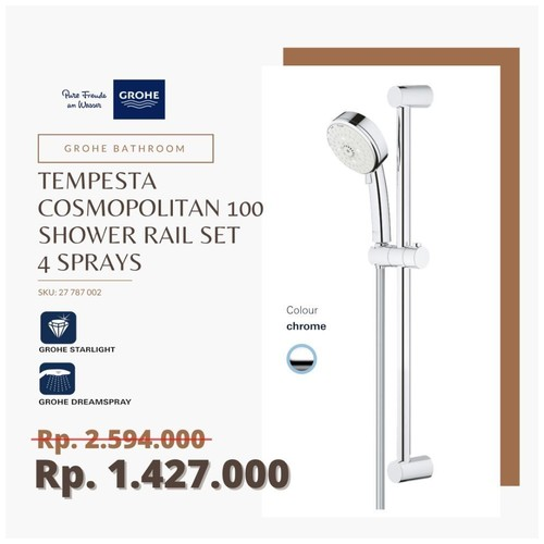 GROHE 27787002 - Tempesta Cosmopolitan 100 Shower Rail Set 4 Sprays