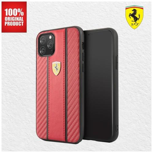 Ferrari - Carbon Pu Leather Case - iPhone 11 Pro Max 6.5 - Red