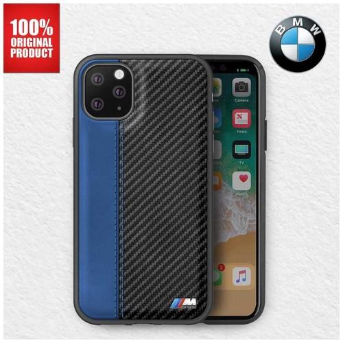 BMW - Leather Carbon Contrast Stripe Case iPhone 11 Pro Max 6.5