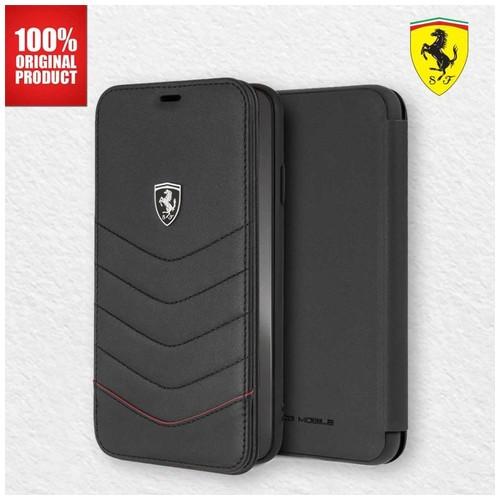 Ferrari Heritage Quilted Folio Leather - iPhone XS Max - Black
