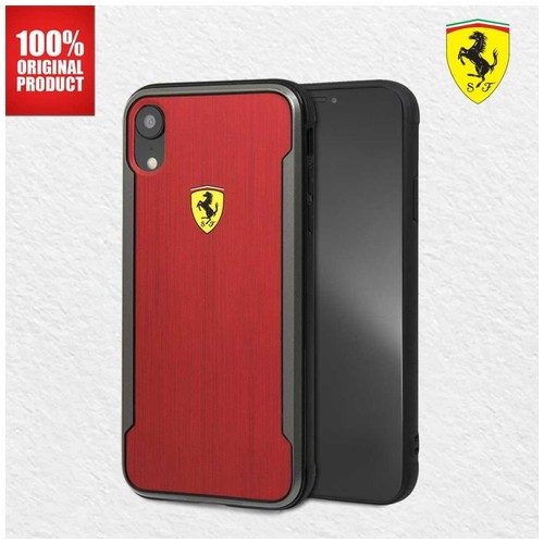 Casing iPhone XR On Track SF Aluminium Effect Ferrari - Red