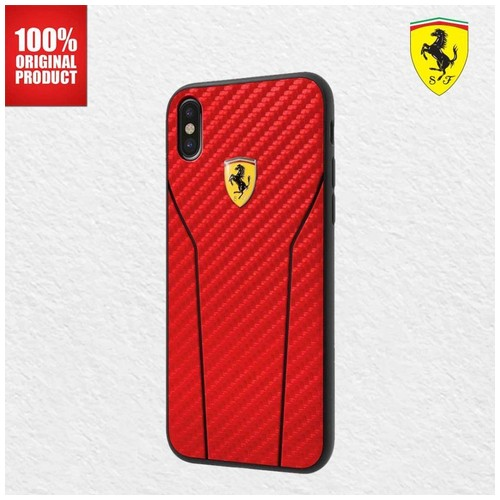 Ferrari On Track Leather Stitch Carbon Effect - iPhone X - Red