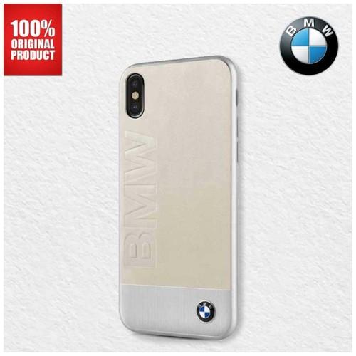 BMW Genuine Leather Aluminium Plate - iPhone X - Beige
