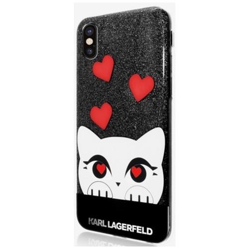 Valentine TPU Case Choupette - iPhone X - Glitter Black