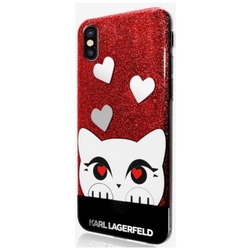 Valentine TPU Case Choupette - iPhone X - Glitter Red