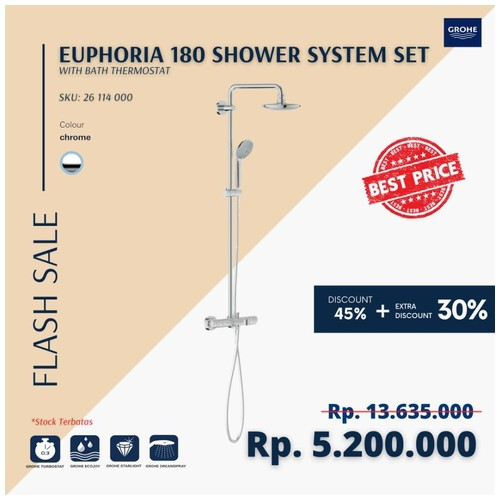 GROHE 26114000 - Euphoria 180 Shower System Set with bath Thermostat