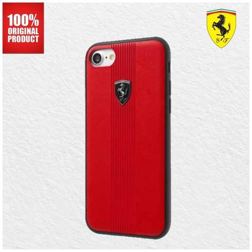 Ferrari Off Track Vertical Lines PU Leather - Case iPhone 7 / 8 - Red