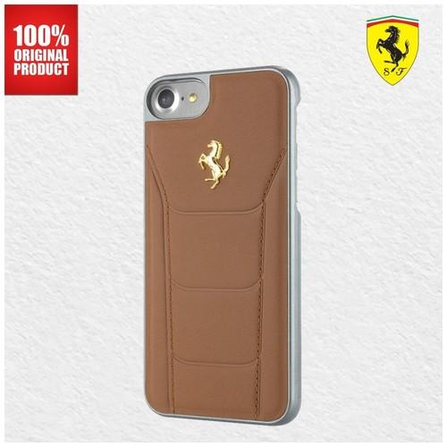 Ferrari Gold Debossed Leather Ferrari - iPhone 7 Plus / 8 Plus - Camel