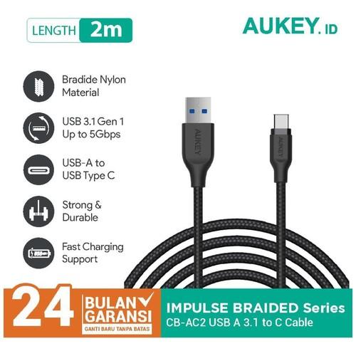 Kabel Charger Type C Aukey CB-AC2 2M USB 3.1 Braided Black - 500281