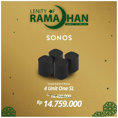 SONOS ONE SL Four Set Stereo Wireless HiFi System