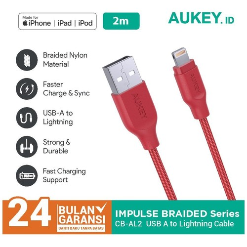 Kabel Charger Iphone Aukey CB-AL2 2M Braided MFI Apple Red - 500213