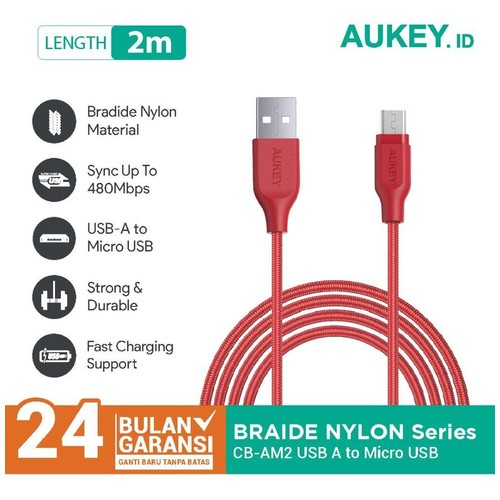 Aukey Cable 2M Micro High Performance Braided Red - 500297