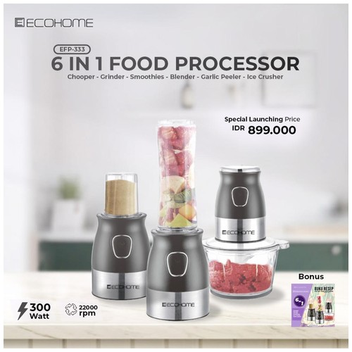 Ecohome  Food Processor 6 in 1 - EFP-333