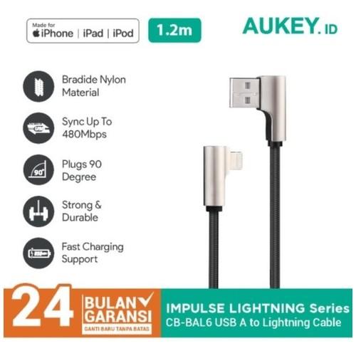 AUKEY CB-BAL6 - USB to Lightning Cable - 90 Degree Braided Nylon 1.2M