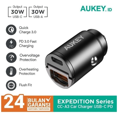 AUKEY CC-A3 - 30W Dual Port USB-A and USB-C Car Charger